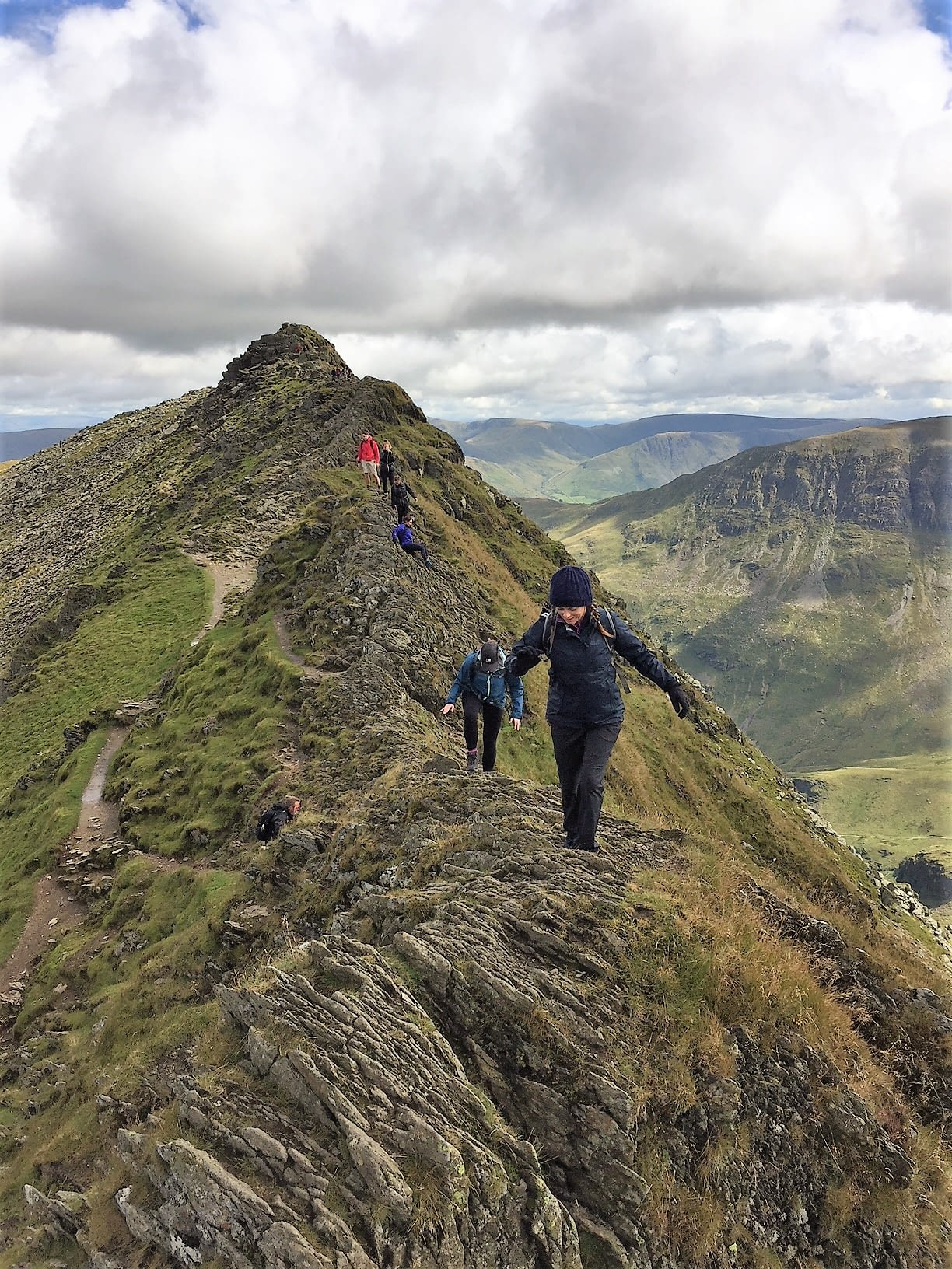 julie on striding edge in the lake district